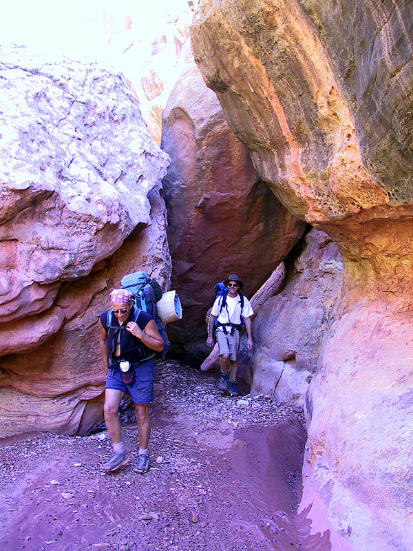 Canyoneering 2002: 30: Abba, Greg, and Boulders