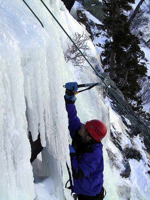 Lincoln Falls 2002: Greg Climbing Ice 03