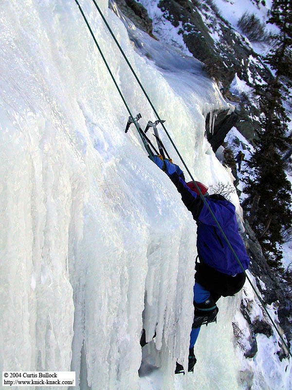 Lincoln Falls 2002: Greg Climbing Ice 05