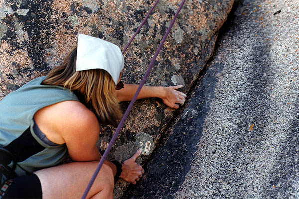 Vedauwoo May 2000: Laura working the Crack on the Layback