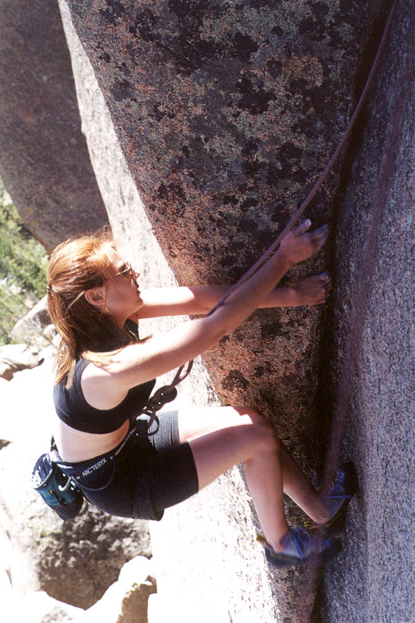 Vedauwoo May 2000: Amy on the Layback crack